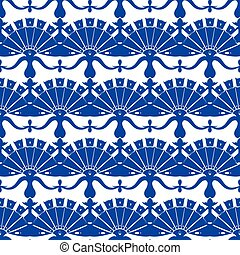 Vector Royal Blue Turskish Floral Abstract Seamless Pattern