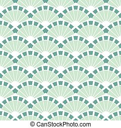 Vector Sea Green Fans Abstract Seamless Pattern graphic...