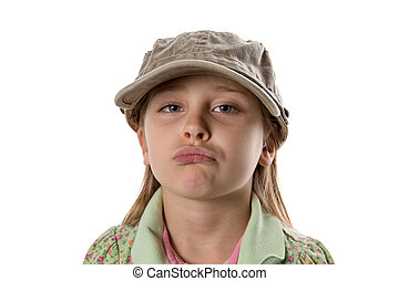 Pouting - Girl in Green Hat - Girl in green hat pouting at...