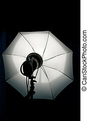 Studio lighting - Shot of studio equipment - white umbrella,...