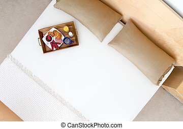 High Angle View of Breakfast Tray on Bed