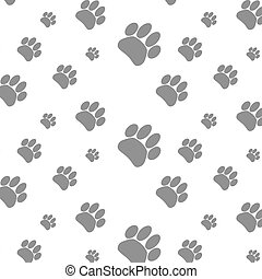Seamless patter foot print dog. Footprint animal background,...