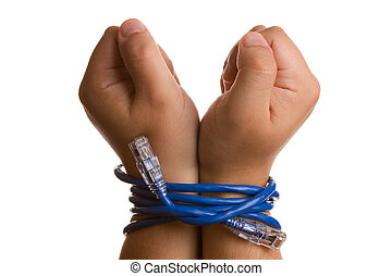 Hands tied with network cable Studio shot isolated on white...
