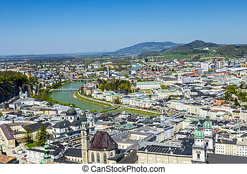 view to the old city of Salzburg from the castle Hohensalzburg hill