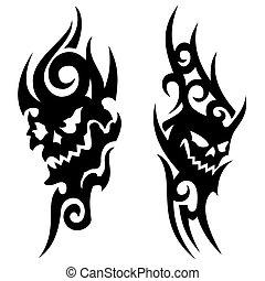 Skull tribal tattoo - A pair of skull tribal tattoo's on a...