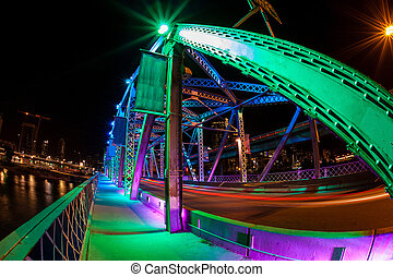 Calgary Landmark: Langevin Bridge - Fisheye view of Langevin...