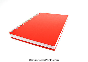 Red notebook isolated on white. Shallow DOF.
