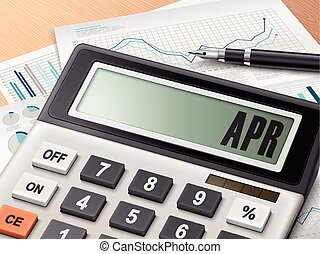calculator with the word APR on the display