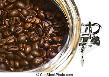 Fresh coffee beans in airtight container