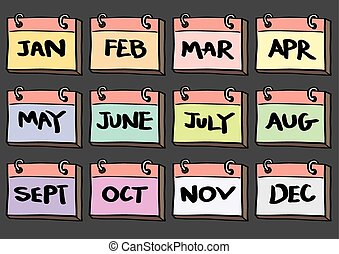 12-Month Calendar Cartoon Vector Icon Set - Vector...