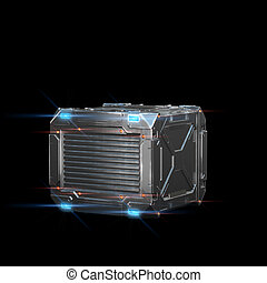 sci-fi military box with neon-lamps - 3d render on black...