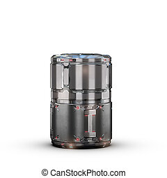 sci fi military grey barrel - high quality 3d render image