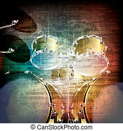 abstract grunge background with drum kit - abstract music...