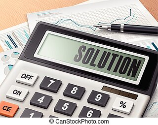 calculator with the word solution on the display
