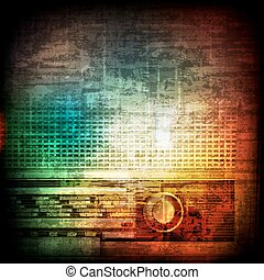abstract grunge background with retro radio - abstract music...