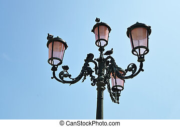 streetlamp from below on sky background