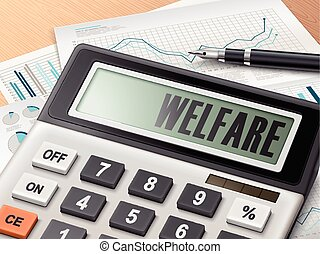 calculator with the word welfare on the display