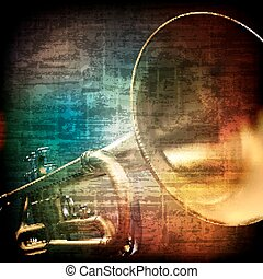 abstract grunge background with trumpet - abstract music...