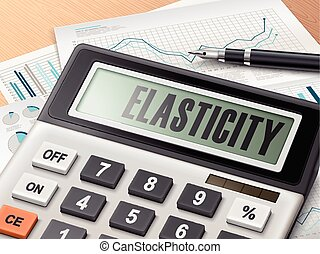 calculator with the word elasticity on the display
