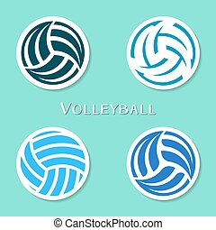 Volleyball ball labels - Set of four vector volleyball ball...