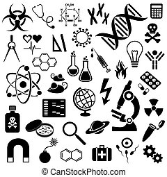 Science icons collection - Black vector science icons...