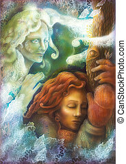 beautiful  winter fairy encounter by a beloved sleeping tree fairy woman painting