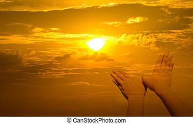 Bird shaped hands on sunset background
