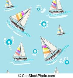 Seamless pattern with boat