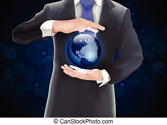 Hands holding earth with blue