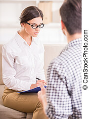 Psychotherapy - Man having a conversation with his...