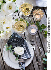 summer wedding table decor - Table setting with white...
