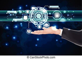 Businessman future web technology and icons on the hand