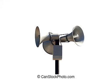 três, público, Loudspeakers, isolado, branca