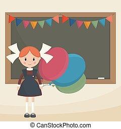 Schoolgirl with balloons near the school board Soviet...