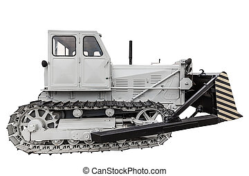 old caterpillar tractor isolated on a white background