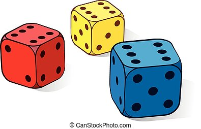 Three colourful dice with sixes - Three colourful dice in...