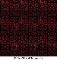 Ornate red tile vintage wallpaper design - Ornate dark red...