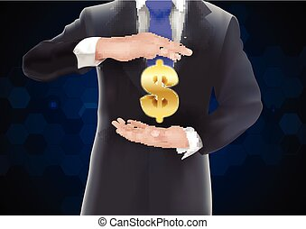 Man with icons money on gold