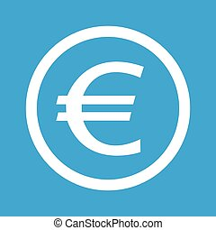 Euro sign icon - Euro symbol in circle, isolated on blue