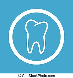 Tooth sign icon - Image of tooth in circle, isolated on blue