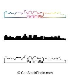 Parramatta skyline linear style with rainbow in editable...