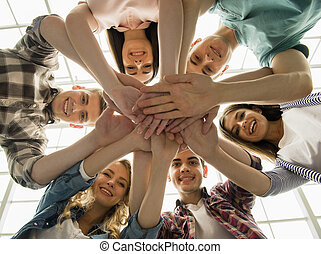 Group interaction - Circle of trust. Group of people sitting...