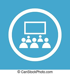 Audience sign icon - Image of audience in front of screen in...