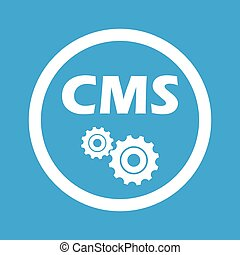 CMS settings sign icon - Text CMS and two gears in circle,...