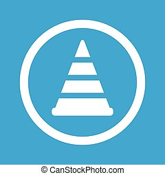 Traffic cone sign icon - Image of traffic cone in circle,...