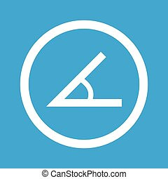 Angle sign icon - Image of angle in circle, isolated on blue