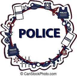 Vector design police symbols in round form with dark colors...