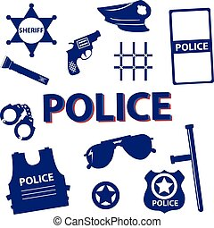 Vector set silhouette police symbols in dark blue color -...