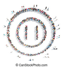 people in the shape of an interval - A large group of people...