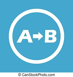 A to B sign icon - Letters A, B and arrow in circle,...